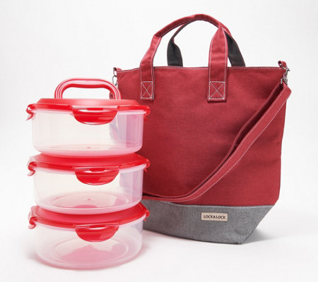 Lock & Lock Tote Bag with 3-Piece Storage Set with Handle Lids