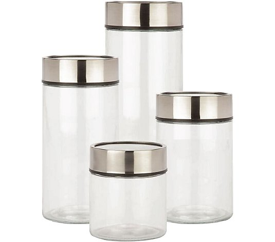 Honey-Can-Do 4-Piece Glass Canister Set with Date Dial Lid