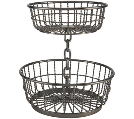 Gourmet Basics by Mikasa Chain 2-Tier GunmetalBasket