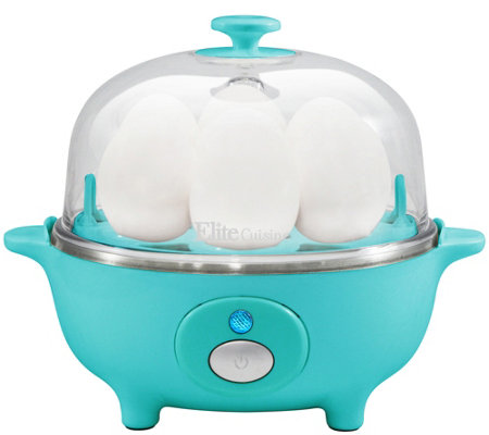 Elite Cuisine Automatic Easy 7-Egg Cooker -Turquoise