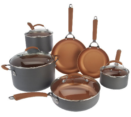 CooksEssentials Hard Anodized 10 Piece Set With Color Nonstick