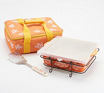 Temp-tations Floral Lace 3-qt Square Baker With Tote & Server - K47340