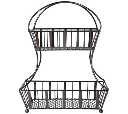 Gourmet Basics by Mikasa Stripe 2 Tier GunmetalBasket