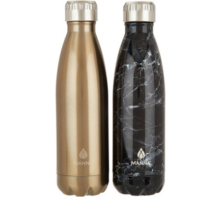 Manna Vogue S/2 17oz. Double Wall Stainless Steel Water Bottles