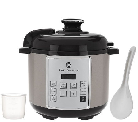 """As Is"" Cooks Essentials 4 qt.Digital Stainless Steel Pressure Cooker"