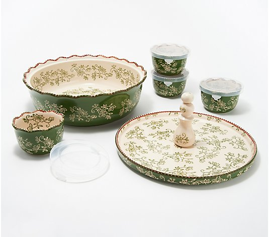 Temp-tations Floral Lace 6-Piece Bake and Appetizer Set