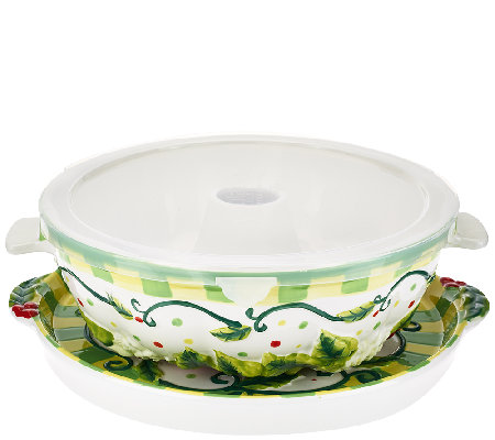 Temp-tations Wreath Fluted Tube Pan with Serving Tray & Gift Box