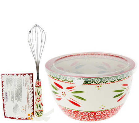 Temp-tations 4.5 qt. Holiday Bowl w/Wire Whisk & Recipe Cards
