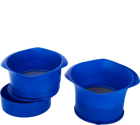 """As Is"" Set of 2 Grease Strainers with Bowls & Lids"