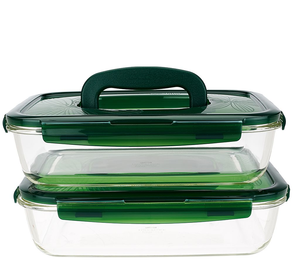 Lock Lock Set of 2 Glass Rectangles w Handles Page 1 QVCcom