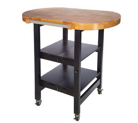 Folding Island Oval Shape Kitchen Cart w/Butcher Block Style Top ...