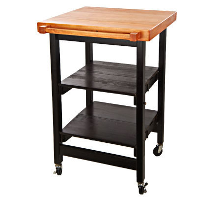 Folding Island Kitchen Cart w/Butcher Block Style Top - Page 1 — QVC.com