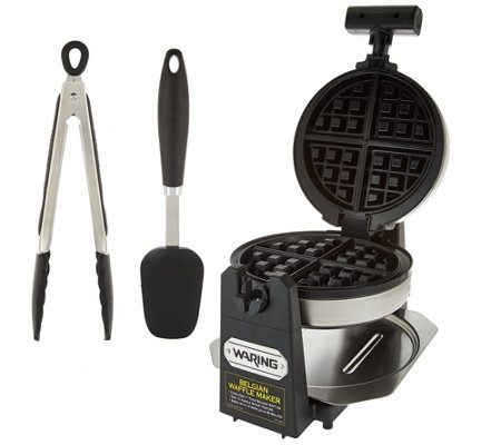 Waring Stainless Steel Belgian Waffle Maker with Spatula & Tongs