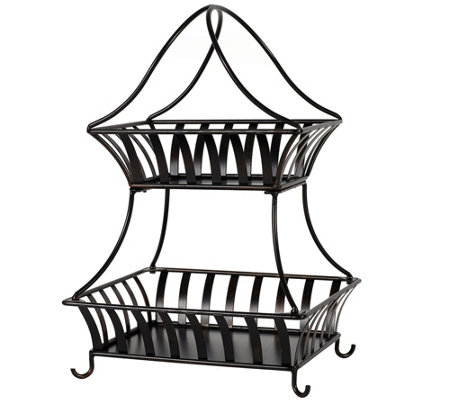 Gourmet Basics By Mikasa Stripe 2 Tier Countertop Basket