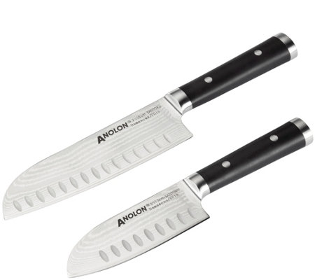 Anolon Imperion Damascus Steel 2-pc Cutlery Santoku Knife Set