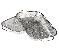 Cook's Essentials S/2 Stainless Steel BBQ Roasting Pans - K40749