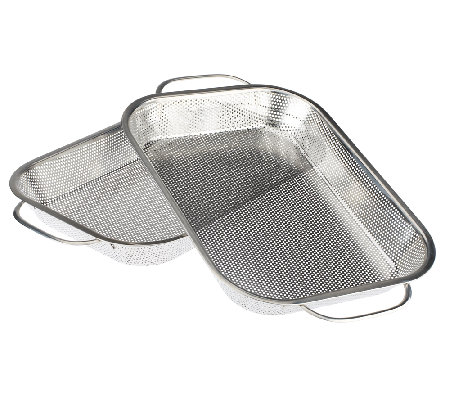 Cook's Essentials S/2 Stainless Steel BBQ Roasting Pans