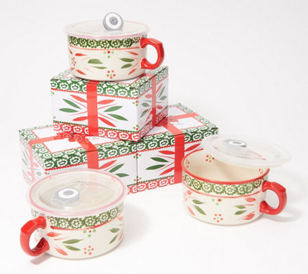 Temp-tations Set of (3) 22-oz Seal the Meal Mugs with Gift Boxes