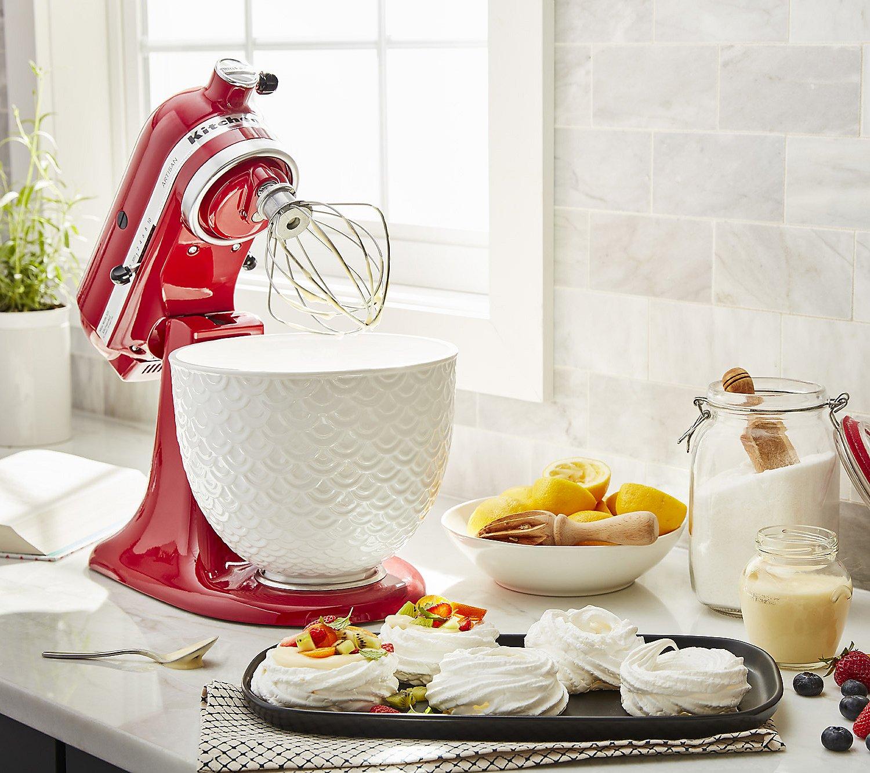 Kitchenaid 5 Qt Textured Ceramic Stand Mixer Bowl Qvc Com