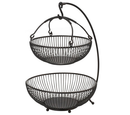 Gourmet Basics by Mikasa Spindle 2-Tier BasketWith Hook