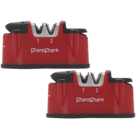 """As Is"" Sharp Shark Set of 2 Deluxe Knife & Scissor Sharpeners"