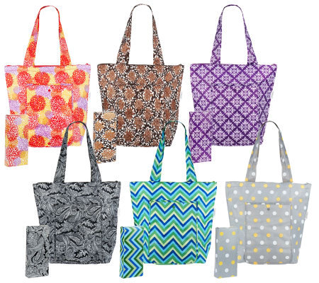 Sachi Set Of 6 Insulated Market Totes Page 1 Qvc Com