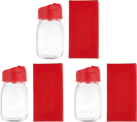 Set of 3 16.9oz Mason Jar Tumblers