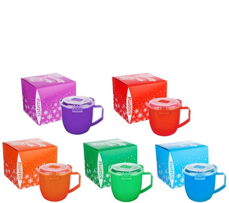 Sistema Set of 5 Large Microwave Soup Mugs in Gift Boxes