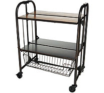 Gourmet Basics by Mikasa Wood Top Folding Cart with Basket - K46753