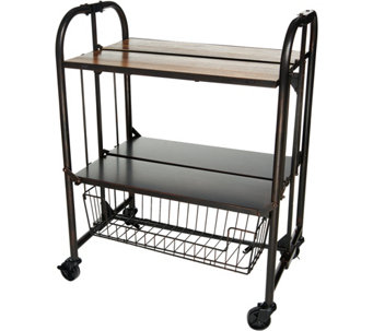 gourmet basics by mikasa wood top folding cart with basket k46753 - Kitchen Carts