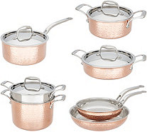 Lagostina Martellata Tri-Ply Copper 11-Pc Hammered Cookware Set - K48053