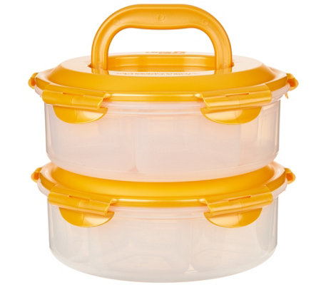 Lock & Lock 2pc Dessert & Appetizer Carrier with Handles