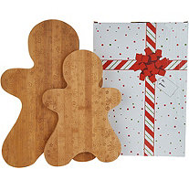Temp-tations Set of 2 Figural Bamboo Cutting Boards with Gift Box - K47954