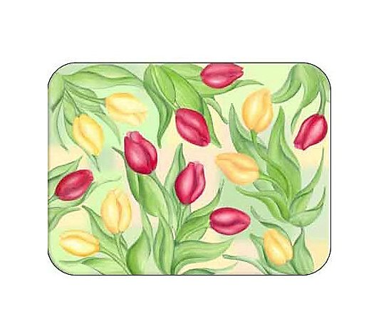 nature inspired gift chef birthday gift Tulips ready for takeoff glass cutting board Tempered Glass; Dishwasher Safe MADE IN USA