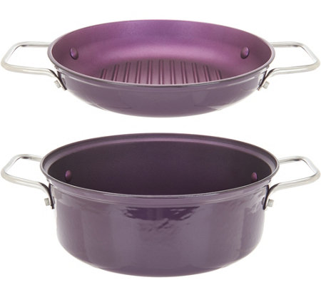 """As Is"" Cook's Essentials 4 qt 2-in-1 Lightweight Cast Iron Pan"