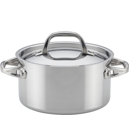 Anolon 3.5-Qt Tri-Ply Clad Stainless Steel Covered Sauce Pot