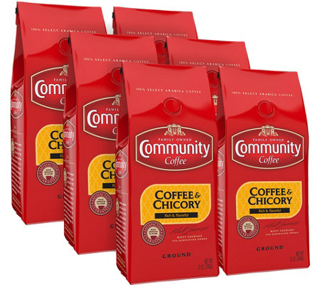Community Coffee Set of (6) 12-oz Ground Coffee& Chicory