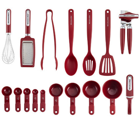 KitchenAid 17-Piece Kitchen Tool & Gadget Set,Red — QVC.com