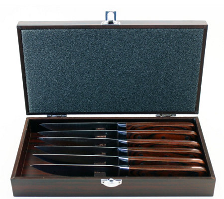 BergHOFF Pakka Wood 6-Piece Steak Knife Set & Wood Gift Case