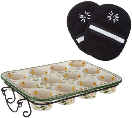 Temp-tations Old World 12-Cup Muffin Pan with Oven Mitts