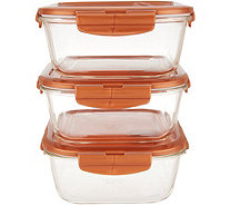 Lock & Lock Set of (3) 5-Cup Vented Glass Square Containers - K47756