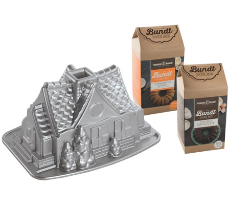 Nordic Ware Gingerbread House Bundt Pan Cakemix Set