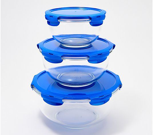LocknLock 3-Piece Glass Mixing Bowl Set w/ Locking Lids
