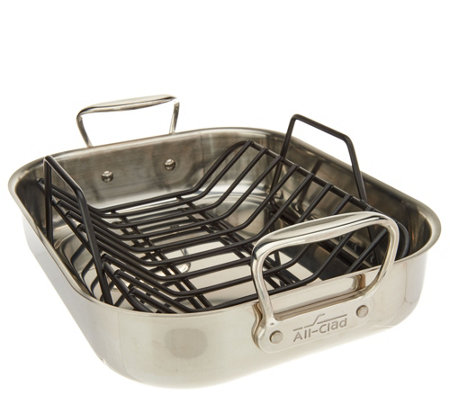 "All-Clad Stainless Steel 11"" x 14"" Roaster with Rack"
