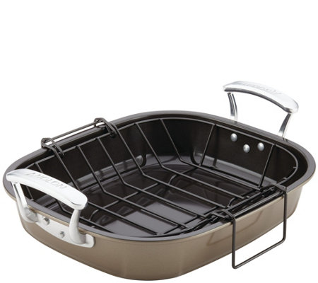 "Anolon Bakeware 16"" x 13-1/2"" Roaster with Hanging U-Rack"
