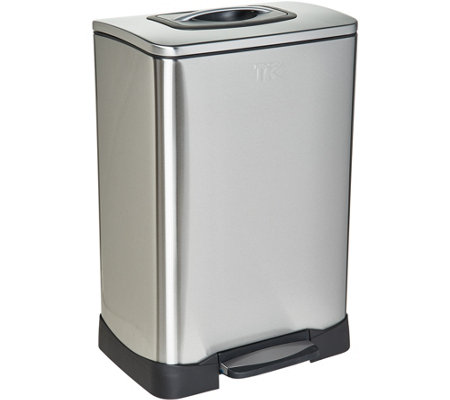 Trash Krusher 13-Gallon Stainless Steel Trash Can with Compactor Lid