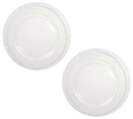 ChargeIt! by Jay Clear Beaded Glass Charger Plates - Set of 2