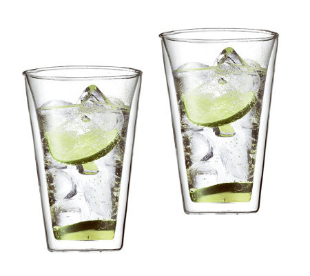 Bodum Canteen Set of 2 Double Wall Glass Cups,13.5 oz