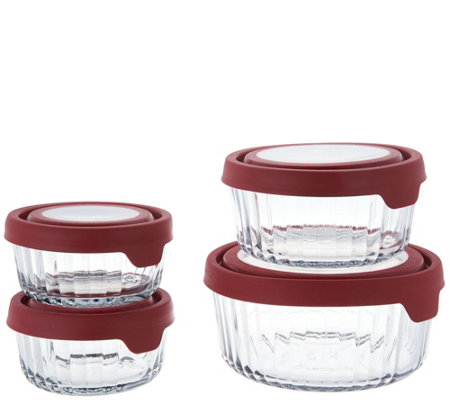 Anchor Hocking 4pc. Embossed Glass Storage Set w/ True Seal