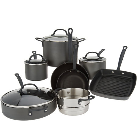 Cook's Essentials Signature 12-Pc Hard-Anodized Cookware Set